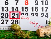 21 de marzo día de poesía de mundo en el calendario Foto de archivo libre de regalías