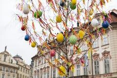 25 DE MARZO DE 2016: Árbol de abedul adornado en los mercados tradicionales de Pascua en viejo cuadrado de ciudades en Praga, Rep Imagen de archivo