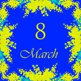 8 de marzo deseo festivo contra el cuadro ocho en el fondo rodeado por las flores amarillas florecientes hermosas de la mimosa y  stock de ilustración