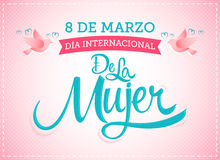 8 de marzo Diameter internacional de la Mujer, spansk översättning: Internationella kvinnors för mars 8 dag stock illustrationer