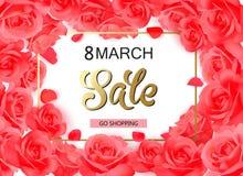 8 de marzo diseño moderno del fondo con las rosas rojas Fotos de archivo libres de regalías