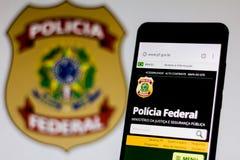 10 de marzo de 2019, el Brasil Homepage del foto de archivo