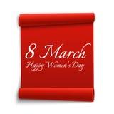 8 de marzo El día de las mujeres felices, plantilla de la tarjeta de felicitación Cinta roja Ilustración del vector Foto de archivo