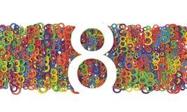 8 de marzo el día de las mujeres Fondo colorido de los números Imágenes de archivo libres de regalías