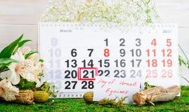 21 de marzo equinoccio vernal, calendario de la primavera Imagen de archivo libre de regalías
