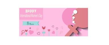8 de marzo Fondo internacional para mujer del día Vector, diseño del texto Usable para las banderas imagen de archivo