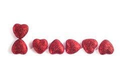 8 de marzo mensaje del día de las mujeres con los pequeños corazones de papel hechos a mano Imagen de archivo