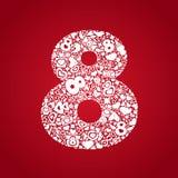 8 de marzo objetos blancos en un fondo rojo Imagen de archivo libre de regalías