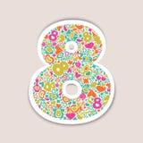 8 de marzo objetos multicolores en un fondo beige Fotografía de archivo