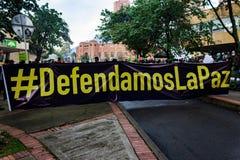 18 de marzo de 2019 - marzo para la defensa del PEC, jurisdicción especial para el ¡Colombia de Bogotà de la paz foto de archivo libre de regalías
