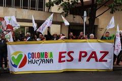 18 de marzo de 2019 - marzo para la defensa del PEC, jurisdicción especial para el ¡Colombia de Bogotà de la paz imágenes de archivo libres de regalías