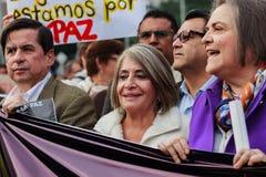 18 de marzo de 2019 - marzo para la defensa del PEC, jurisdicción especial para el ¡Colombia de Bogotà de la paz imagen de archivo