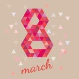 8 de marzo postal Diseño del día de las mujeres s, gráfico del polígono del ejemplo EPS 10 del vector Fotografía de archivo libre de regalías