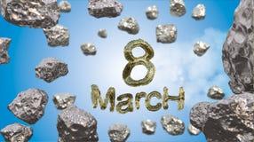 8 de marzo símbolo La figura de ocho hizo de manzanas o del vuelo de oro de la nave de la estrella en el espacio con los asteroid ilustración del vector