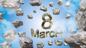 8 de marzo símbolo La figura de ocho hizo de manzanas o del vuelo de oro de la nave de la estrella en el espacio con los asteroid stock de ilustración