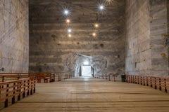 3 de marzo Slanic Rumania, mina de sal de Unirea, galería subterráneo de la tubería Fotografía de archivo