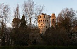 9 de marzo de 2019, sul Sile región de Italia del norte, Véneto de Casale: La torre de Carraresi fotografía de archivo