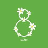 8 de marzo tarjeta de felicitación stock de ilustración