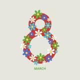 8 de marzo tarjeta de felicitación ilustración del vector