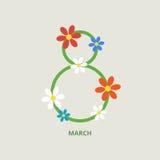 8 de marzo tarjeta de felicitación fotografía de archivo