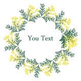 8 de marzo tarjeta de felicitación Día internacional del ` s de las mujeres La mano dibujada florece la mimosa Vector ilustración del vector