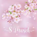 8 de marzo - tarjeta de felicitación del día de las mujeres stock de ilustración