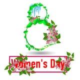 8 de marzo tarjeta de felicitación Plantilla para el día internacional del ` s de las mujeres stock de ilustración