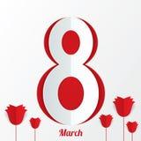 8 de marzo tarjeta del día de las mujeres con las rosas en blanco Fotos de archivo