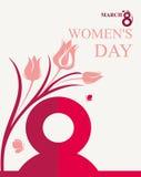 8 de marzo Tarjeta del día del ` s de las mujeres Fotos de archivo