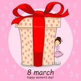 8 de marzo tarjeta de dibujo de la mano con la niña y el regalo grande libre illustration