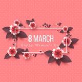 8 de marzo tarjeta de felicitación Foto de archivo libre de regalías