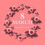 8 de marzo tarjeta de felicitación Fotos de archivo libres de regalías