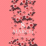 8 de marzo tarjeta de felicitación Imagen de archivo libre de regalías