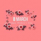 8 de marzo tarjeta de felicitación Imagen de archivo