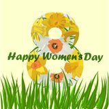 8 de marzo tarjeta de felicitación del día de las mujeres s 8 de marzo tarjetas del diseño con las flores del narciso foto de archivo