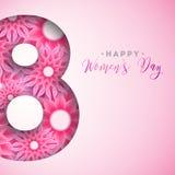 8 de marzo Tarjeta de felicitación floral de las mujeres del día feliz del ` s Ejemplo internacional del día de fiesta con diseño Imagen de archivo