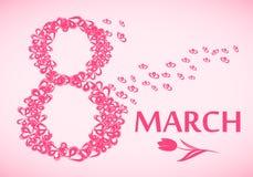 8 de marzo, tarjeta de felicitación internacional del día del ` s de las mujeres Imágenes de archivo libres de regalías