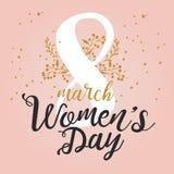 8 de marzo tarjeta de felicitación internacional del diseño del día del ` s de las mujeres con las letras manuscritas y el orname Fotografía de archivo