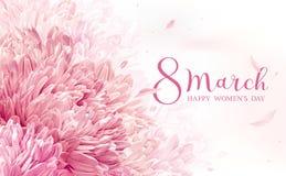 8 de marzo tarjeta de felicitación de la flor Imagenes de archivo