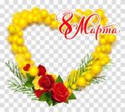 8 de marzo traducción del texto del ruso La mimosa y la rosa amarillas del rojo enrruellan forma del corazón Imagen de archivo libre de regalías