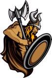 De Mascotte die van Viking Norseman zich met Bijl en Schild bevindt royalty-vrije illustratie