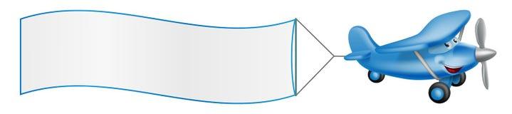 De mascotte slepende banner van het beeldverhaalvliegtuig stock illustratie