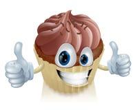 De mascotte van de chocolade cupcake Stock Afbeelding