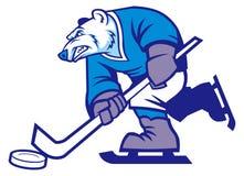 De mascotte van de ijshockey ijsbeer Stock Afbeeldingen