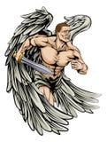 De mascotte van de strijdersengel royalty-vrije illustratie
