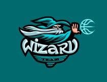 De mascotte van het basketbalteam Een tovenaar in een hoed werpt een basketbal vector illustratie