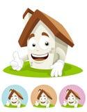 De Mascotte van het Beeldverhaal van het huis - duim omhoog Stock Foto's