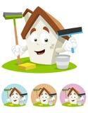 De Mascotte van het Beeldverhaal van het huis - holdings schoonmakende hulpmiddelen Royalty-vrije Stock Afbeelding