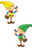 De Mascotte van het elf - Hamer en Toolbox Stock Foto