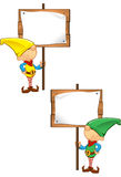 De Mascotte van het elf - het Houten Teken van de Holding Stock Afbeelding
